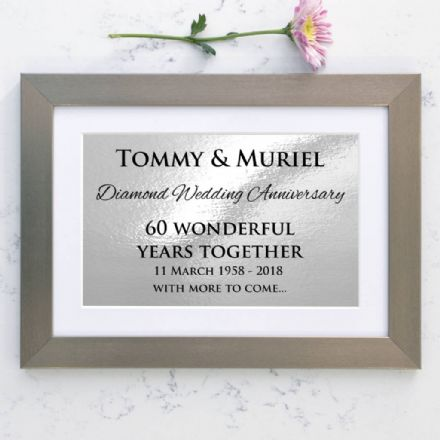 Personalised Diamond Wedding Anniversary Framed Print